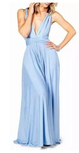 Vestido de festa Azul Serenity Longo madrinha casamento Formatura