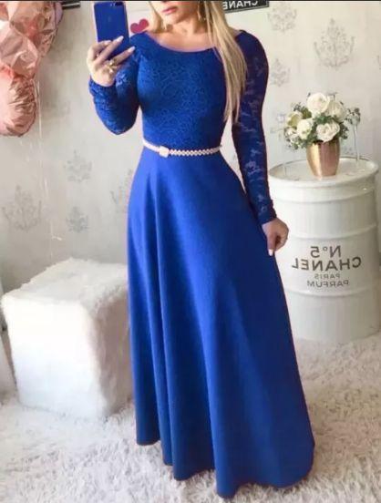 Vestido Azul Royal Godê Manga Longa Madrinha casamento Formatura