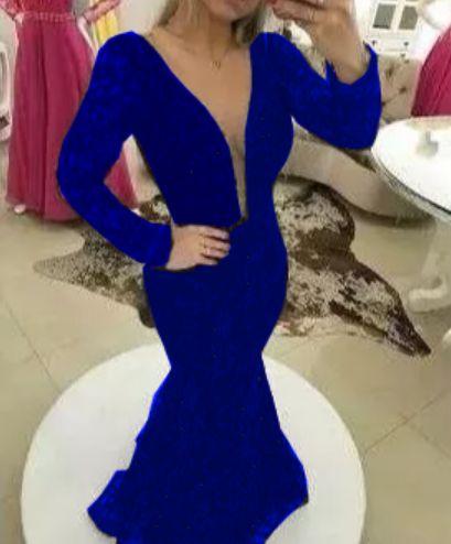 Vestido Azul Royal Longo Renda De Festa Madrinha Com Tule Manga Longa