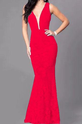 Vestido vermelho Longo Madrinha de casamento Decote Tule Estilo Sereia