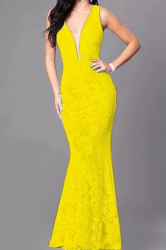 Vestido Amarelo Longo Madrinha de casamento Decote Tule Estilo Sereia