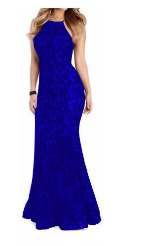 Vestido Longo Azul Royal Sereia Frente Renda Festa Madrinha Casamento Frente Única