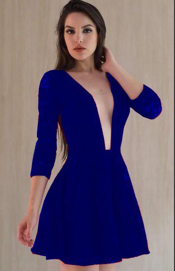 Vestido Curto Azul Royal Renda Rodado Decote Tule Festa madrinha casamento