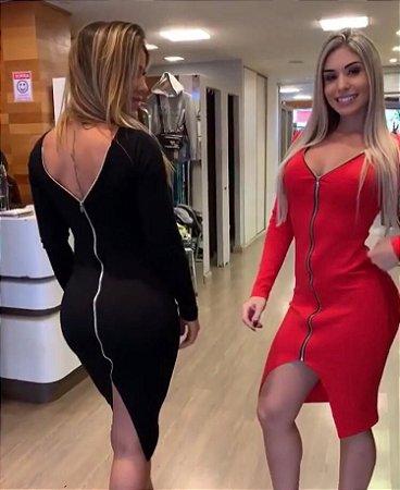 vestido Curto dupla face Feminino Balada Blogueira  Vermelho Preto
