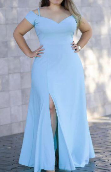 Vestido plus Size Azul Sereniny Longo Madrinha Festa casamento