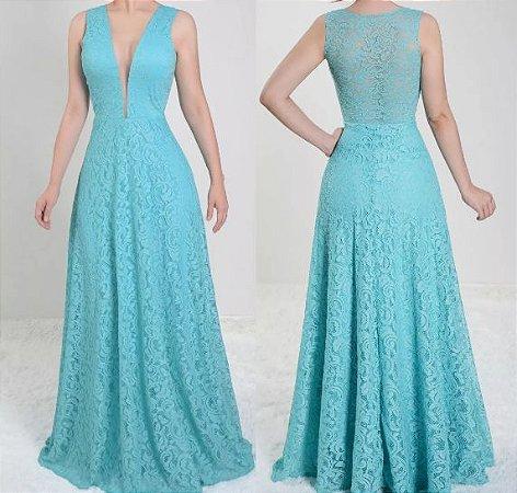 Vestido Azul serenity Longo Festa madrinha casamento Formatura