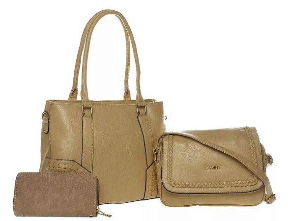 Bolsa Couro Feminina Bege Kit com 3 bolsas Transversal