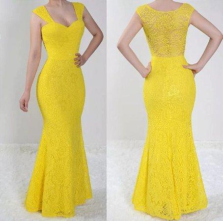 Vestido madrinha Casamento festa Renda Longo Sereia Amarelo