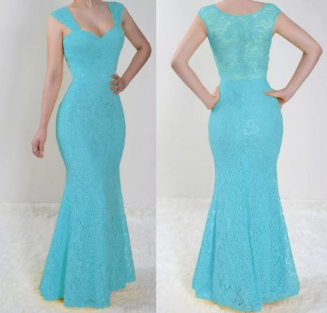 Vestido madrinha Casamento festa Renda Longo Sereia Azul Serenity