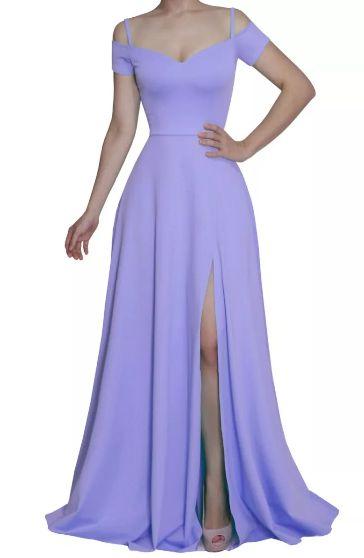Vestido Longo Festa Madrinha Casamento Fenda Azul Serenity
