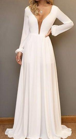 Vestido Madrinha Casamento Formatura Decote V Manga Longa Branco