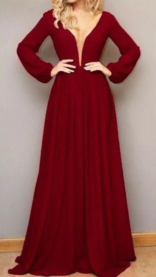 Vestido Madrinha Casamento Formatura Decote V Manga Longa Marsala