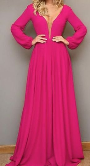 Vestido Madrinha Casamento Formatura Decote V Manga Longa Pink