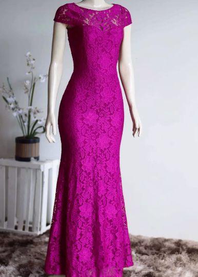 Vestido de Festa Madrinha casamento Formatura Sereia Manguinha Pink