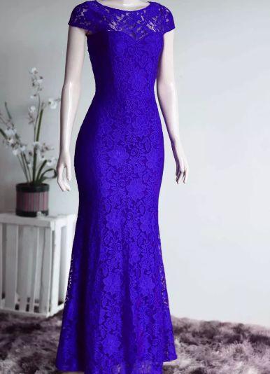 Vestido de Festa Madrinha casamento Formatura Sereia Manguinha Azul Royal