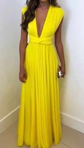 Vestido Longo para festa madrinha casamento formatura Multi Amarelo