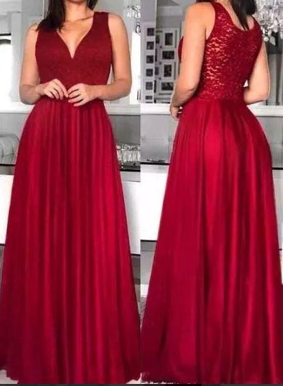 Vestido de Festa Longo Formatura Madrinha casamento Godê Vermelho