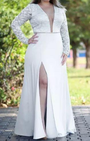 Vestido Plus Size Festa Longo madrinha casamento Manga longa Branco