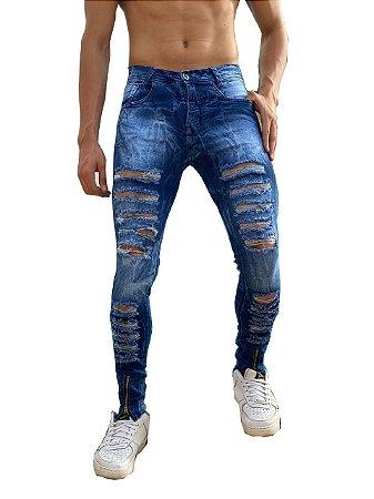 Calça Masculina Jeans Rasgada Skinny Sarja Slim  Zíper Lycra