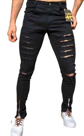 Calça masculina Jeans destroyed Rasgada preta Slim skinny  Zíper Lycra