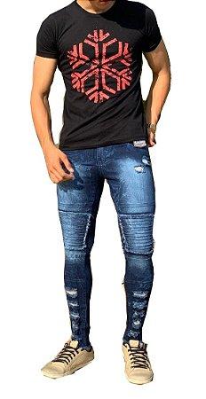 Calça masculina Jeans  Rasgada destroyed Azul Slim skinny  Zíper Lycra