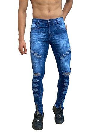 Calça Masculina Jeans Rasgada Skinny Sarja Slim  Zíper Lycra Azul