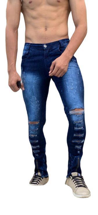 Calça Jeans Masculina Slim Fit Rasgada destroyed  Com Lycra Azul escuro desbotada