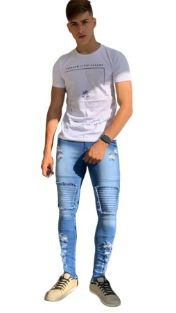 Calça Jeans Masculina Slim Fit Rasgada destroyed  Super Skinny Com Lycra Azul Claro