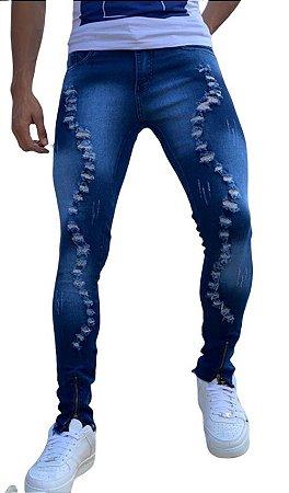 Calça Jeans Masculina Slim Fit Rasgada destroyed  Super Skinny Com Lycra Azul escuro