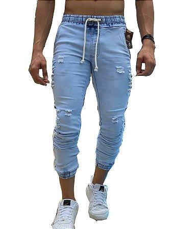 Calça Jeans Masculina Slim Fit Rasgada destroyed Cordão Super Skinny Com Lycra