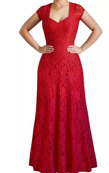 Vestido Longo Festa Madrinha Casamento Renda Guipir Alça larga Vermelho