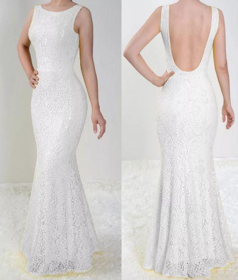 Vestido Branco Longo Festa Sereia Madrinha Casamento Renda Costa nua