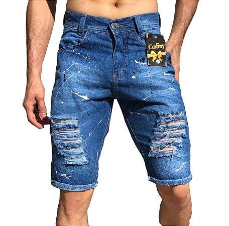 Bermuda Masculina Jeans Destroyed Rasgada Masculina
