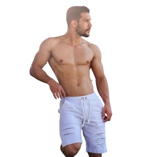Bermuda Masculina Jeans Destroyed jogue Layca Slim Fit Original Branca
