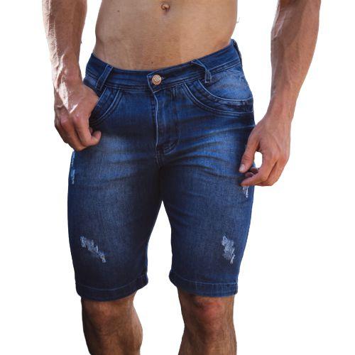 Bermuda Masculina Jeans Destroyed jogue Layca Slim Fit Original