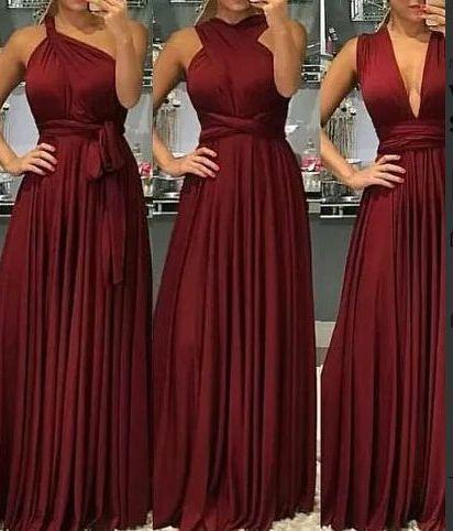 Vestido Infinity de festa marsala Longo madrinha casamento Formatura