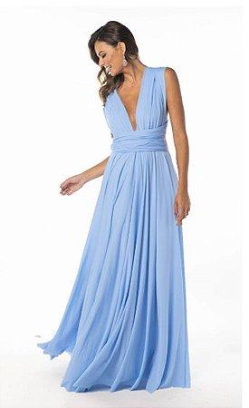 Vestido de festa infinito Azul Serenity Longo madrinha casamento Formatura