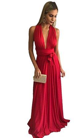 Vestido de festa infinito vermelho Longo madrinha casamento Formatura