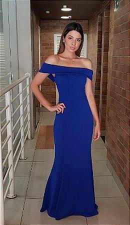 Vestido Azul Royal Longo de Festa Madrinha casamento Ombro a Ombro