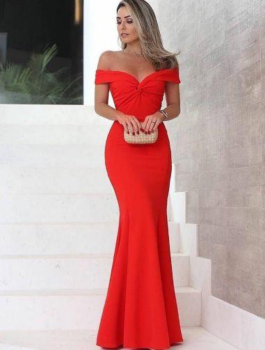 Vestido Vermelho Longo de Festa Madrinha casamento Formatura Ombro a Ombro