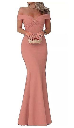 Vestido Rosé Longo de Festa Madrinha casamento Formatura Ombro a Ombro