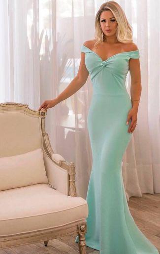 Vestido azul Serenity Longo de Festa Madrinha casamento Formatura Ombro a Ombro