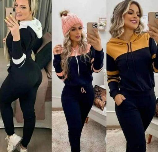 conjunto Feminino calça Blusa manga longa capuz preto com Rosa