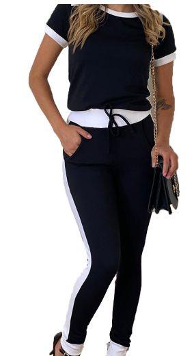 conjunto Feminino calça Blusa manga curta preto com Branco