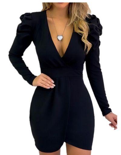 Vestido  curto manga longa bufante decote preto