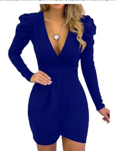 Vestido curto manga longa bufante decote Azul Royal