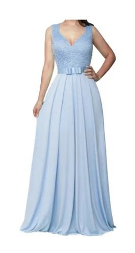 Vestido Azul Serenity Longo Princesa Godê Rodado madrinha casamento formatura
