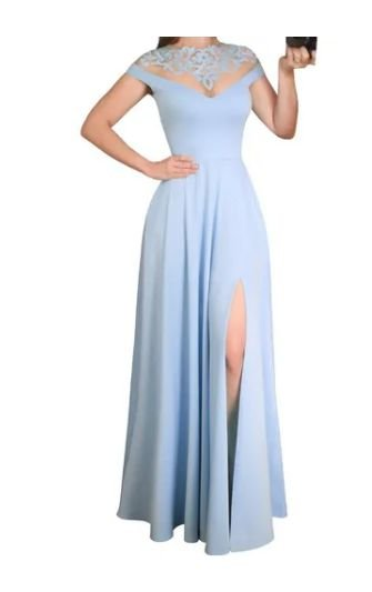 Vestido Azul Serenity Longo Fenda  madrinha casamento formatura Fenda