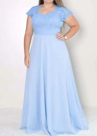 Vestido Azul Serenity Longo Plus size madrinha casamento formatura