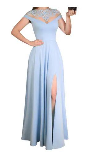 Vestido Azul Serenity Longo Fenda madrinha casamento formatura